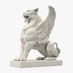 white gryphon statue